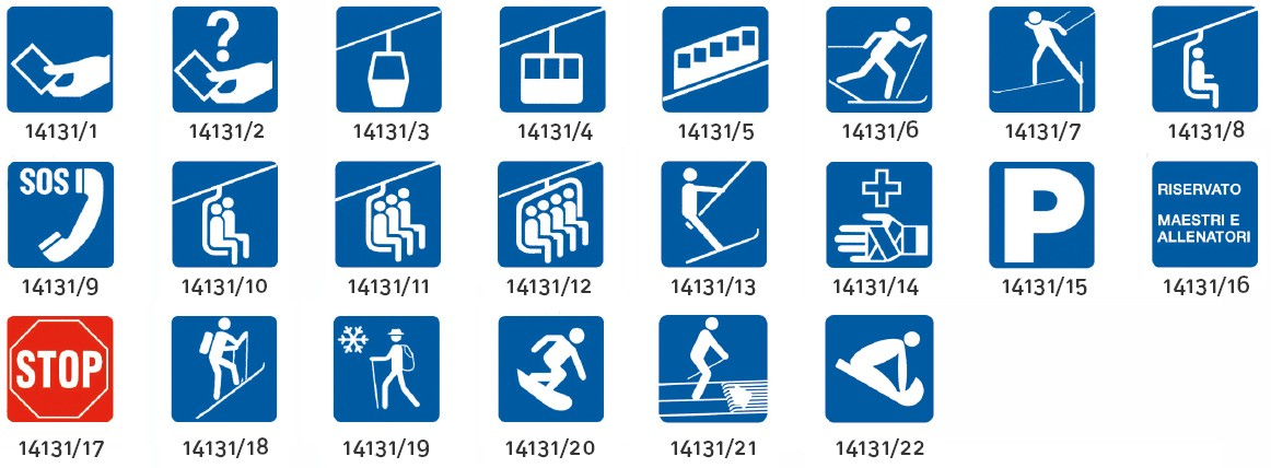 Liski različni kvadratni znaki za smučišča za informacije