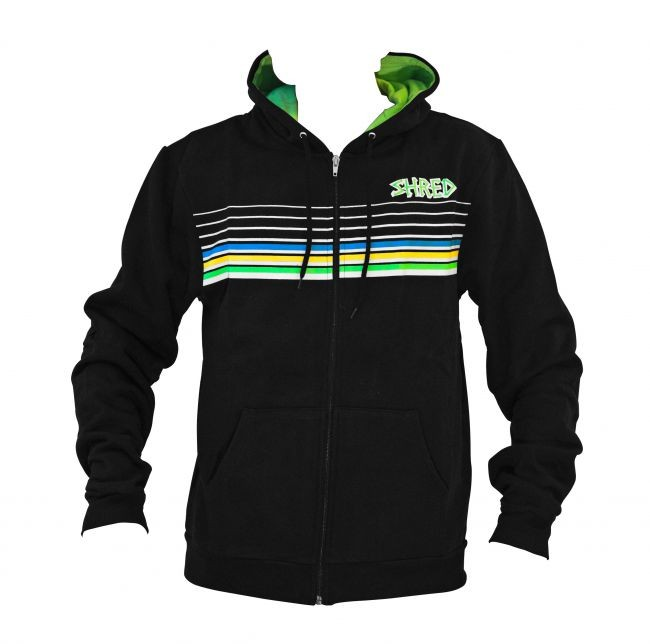 pulover s kapuco shred lines black
