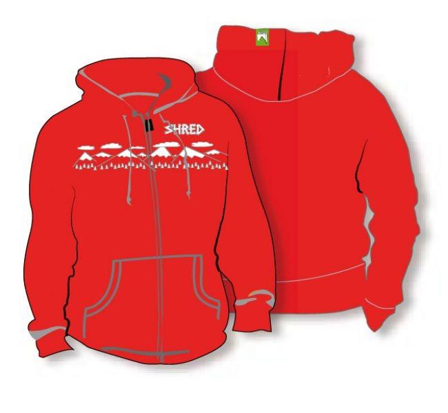 Shred pulover hoodie needmoresnow rdeči