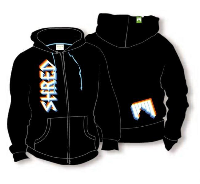 Shred hoodie pulovar threeD logo črni