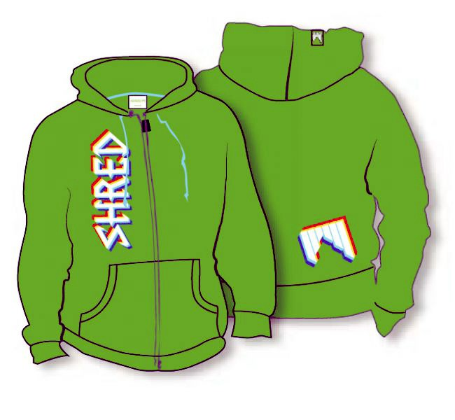 shred_hoodie_threed_logo_green 2