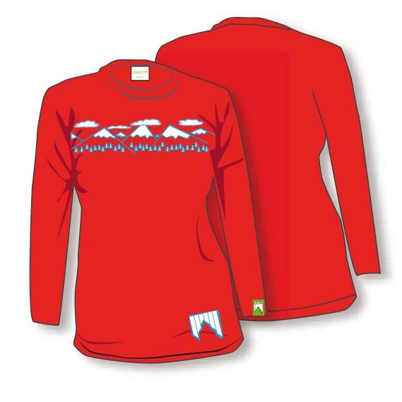 Shred ženska majica t shirt need more snow rdeča